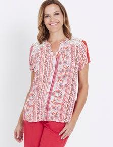 Millers Cap Sleeve Lace Yoke Print Shirt