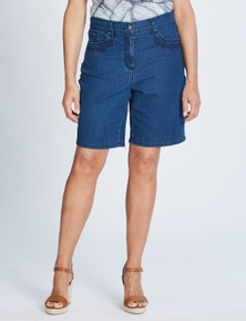 5 PKT MID THIGH EMBROIDERED SHORT