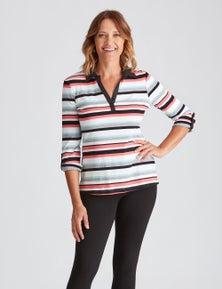 Millers 3/4 Sleeve Stripe Polo