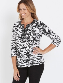Millers 3/4 Sleeve Emb Notch Neck Top