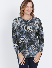 Millers Long Sleeve Animal Placement Brushed Top