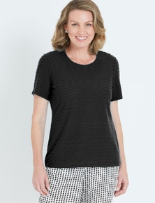 MILLERS SHORT SLEEVE TEXTURE SCOOP NECK TOP