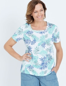 MILLERS SHORT SLEEVE PRINTED T-SHIRT WITH CROCHET NECK INSERT