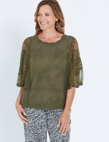 MILLERS EXTENDED SLEEVE EMBROIDERED TOP