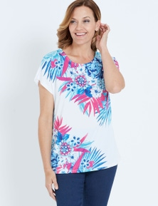 MILLERS EXTENDED SLEEVE PLACEMENT PRINT TOP