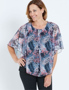 MILLERS EXTENDED SLEEVE PRINTED OVERLAY TOP WITH HEATSEAL