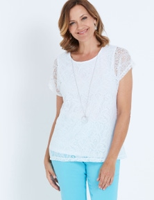 MILLERS EXTENDED SLEEVE LACE TOP WITH NECKLACE