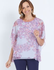 MILLERS EXTENDED SLEEVE PRINTED OVERLAY TOP WITH NECKLACE