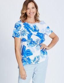 SHORT SLEEVE PRINTED MIXED MEDIA TOP