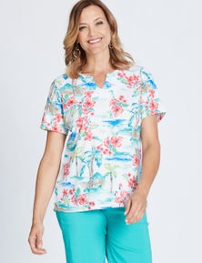 MILLERS SHORT SLEEVE PRINTED NOTCH NECK