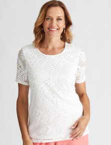 MILLERS SHORT SLEEVE LACE SCOOP NECK