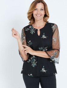MILLERS 3/4 SLEEVE RUFFLE SLEEVE EMBROIDERED TOP