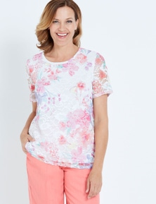 MILLERS SHORT SLEEVE PRINTED LACE SCOOP NECK