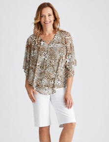 MILLERS EXTENDED SLEEVE OVERLAY TOP WITH NECK TRIM