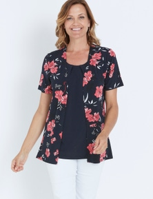 MILLERS SHORT SLEEVE PRINTED 2 IN 1 WITH TRIM