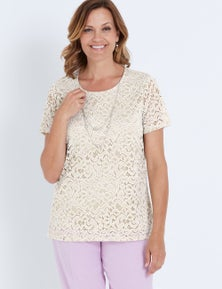 MILLERS SHORT SLEEVE TWO TONE LACE TOP WITH NECKLACE