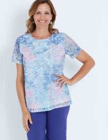 MILLERS SHORT SLEEVE PRINTED LACE TOP WITH NECKLACE