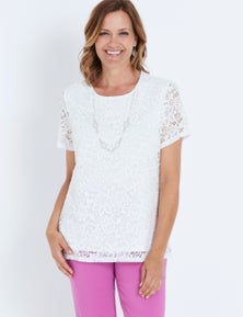 MILLERS SHORT SLEEVE LACE TOP WITH NECKLACE