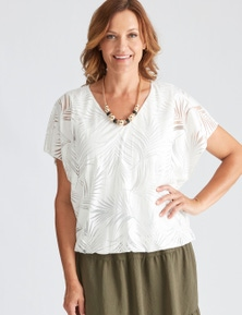 Millers Extended sleeve Burnout Top with Bubble Hem
