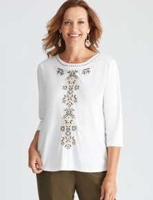 Millers 3/4 Sleeve Embroidered Scoop Neck Top