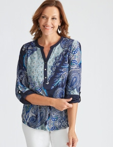 Millers 3/4 Sleeve Placement Printed Knit Shirt