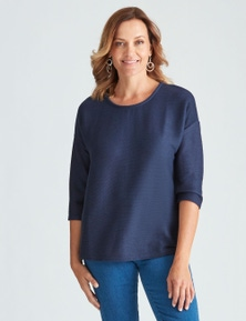Millers 3/4 Sleeve Ribbed Drop Shoulder Top