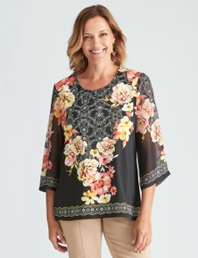 Millers 3/4 Sleeve Placement Print Top with Chiffon Sleeve