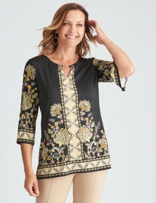 Millers 3/4 Sleeve Placement Print Top with Neck Trim