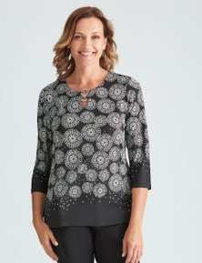 Millers 3/4 Sleeve Border Print Top with Neck Trim