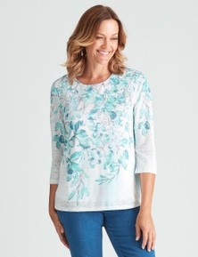 Millers 3/4 Sleeve Placement Print Textured Top