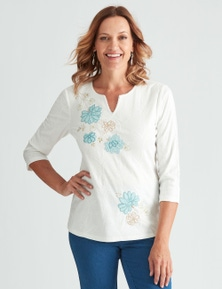 Millers 3/4 Sleeve Embroidered Notch Neck with Applique
