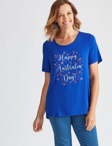 Millers Short Sleeve Placement Print Top