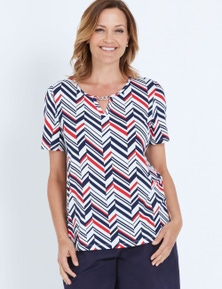 Millers Short Sleeve Printed Notch Neck Top