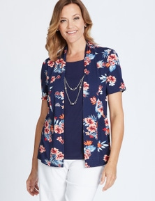 Millers Short Sleeve Printed 2 in 1 Top with Necklace