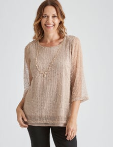 Millers 3/4 Sleeve Open Knit Top
