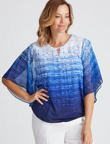 Millers Printed Top with Chiffon Frill Sleeve