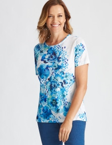 Millers Short Sleeve Placement Printed Scoop Neck Top