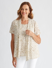 Millers Short Sleeve Two Tone Lace 2 in 1 with Necklace