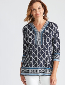 Millers 3/4 Sleeve Top with Contrast Print