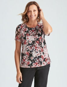Millers Short Sleeve Printed Mesh Top with Necklace