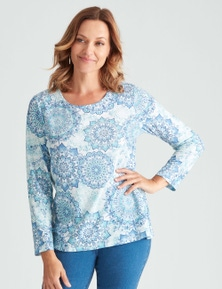 Millers 3/4 Sleeve Placement Printed Scoop Neck Top