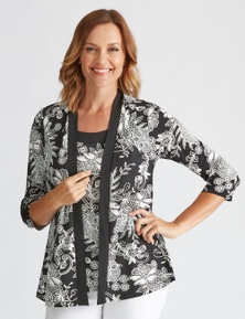 Millers 3/4 Sleeve Printed 2 in 1 Top