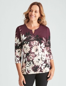 3/4 SLEEVE PRINT TOP