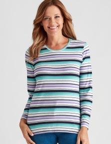 Millers Long Sleeve Stripe Scoop Neck Top