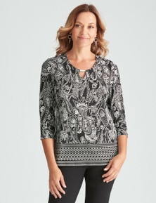 Millers 3/4 Sleeve Placement Printed Notch Neck