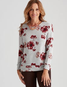 Millers Printed Brushed Top with Hem Band