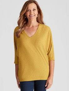 Millers 3/4 Sleeve Ribbed Brushed Top
