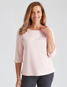 Millers 3/4 Sleeve Ribbed Top with Heatseal Trim