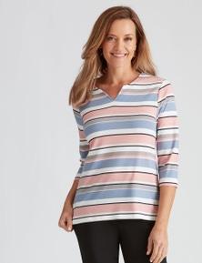 Millers 3/4 Sleeve Stripe Notch Neck Top
