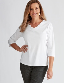 Millers 3/4 Sleeve Top with Scallop Neck Trim